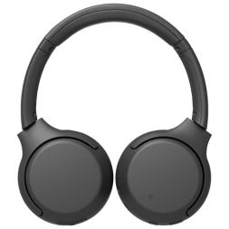The black Sony WH-XB700 headphones laid flat on a white background.