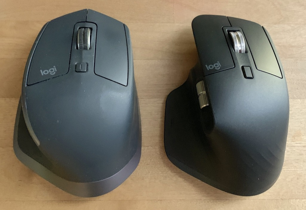 Comparison image of MX Master 2S (on the left) and MX Master 3 models (on the right)