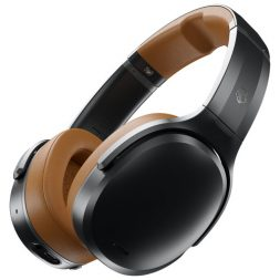 Skullcandy Crusher ANC Headphones in a black and tan colour scheme.