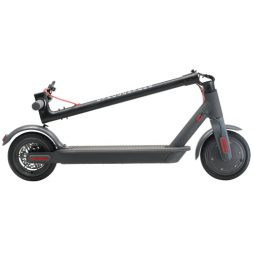 The Gyrocopters Flash portable electric scooter in its folded configuration on a white background.