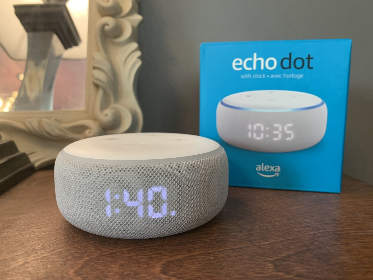 Amazon Echo Dot with Clock and packaging