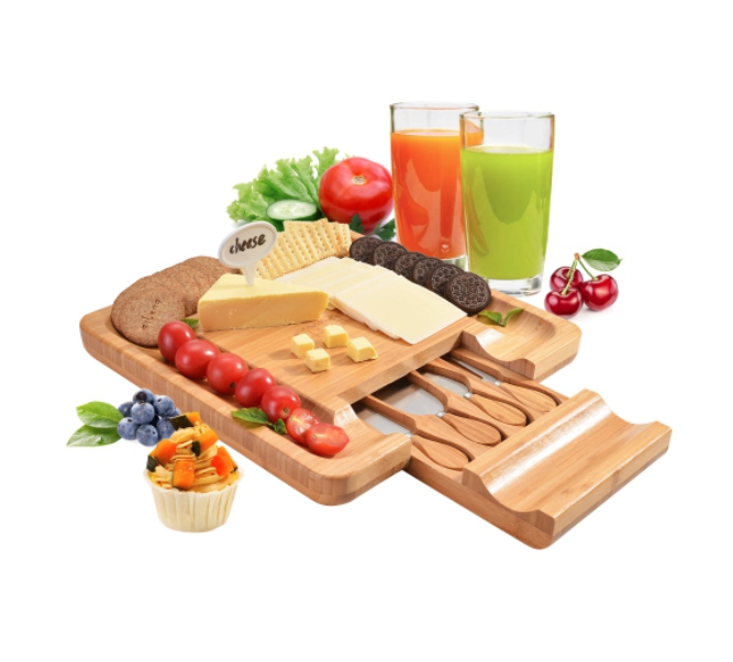 gifts for hostess - bamboo cheese board set