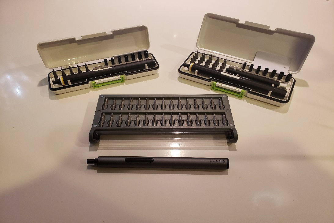 image of all 3 KONOS electric sets open showing screwdrivers and attachments