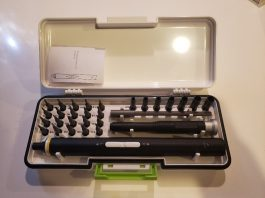 image KONOS 30-in-1 electric screwdriver set open showing pieces and attachments