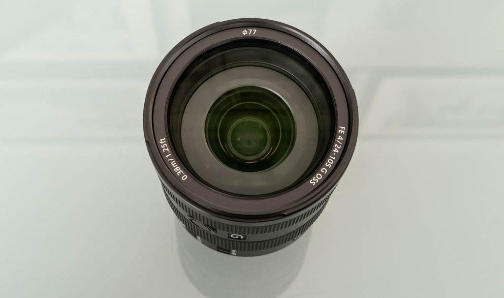 A photo of the front of the Sony FE 24-105mm f/4 G OSS lens
