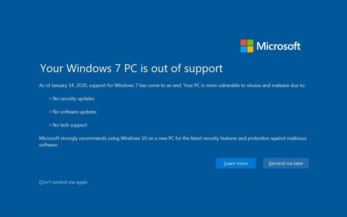 Windows 7 warning