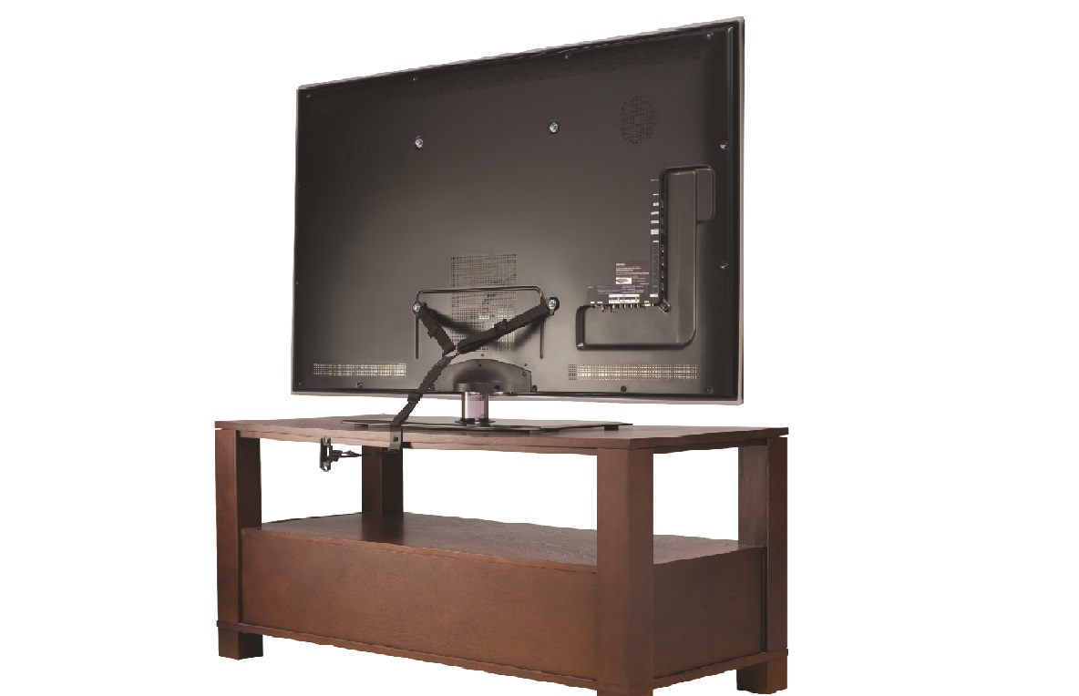 image of the SANUS Elements Anti-Tip Strap securing the back of a TV to the back edge of a TV stand