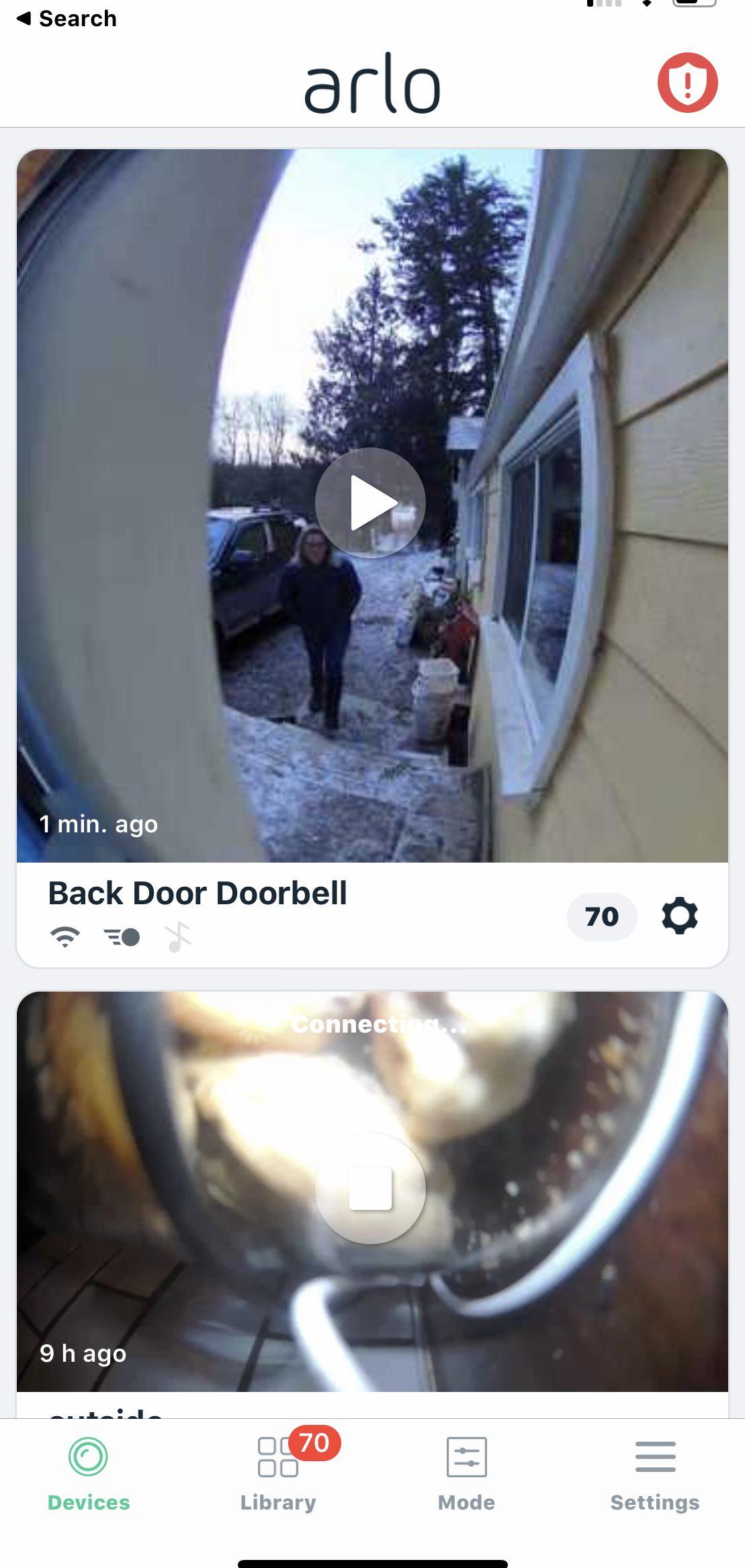 Arlo Video Doorbell Screenshot of app