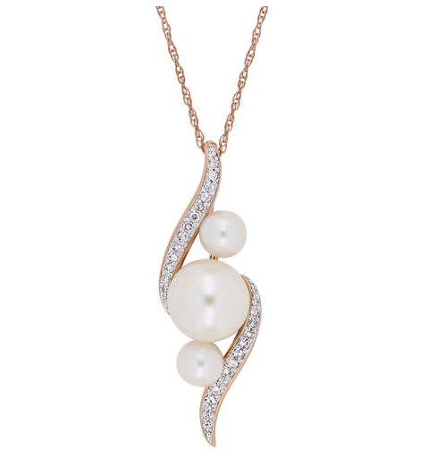 "Classic Pendant with White Pearls and 0.13ctw White Diamonds on a 17"" Rose Gold Chain"