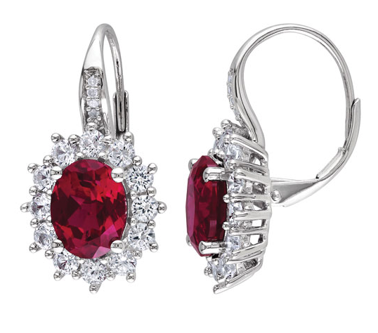 Halo Dangle Earrings in Sterling Silver with Red Oval Created Ruby, 0.04ctw Diamond & Created Sapphire