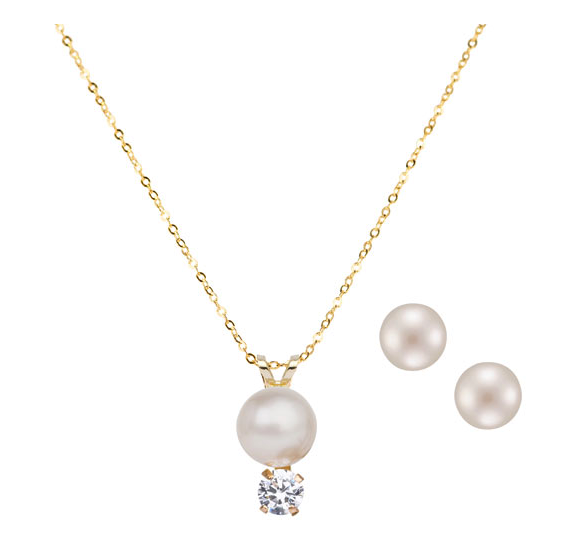 Le Reve Collection 18 Pearl:Cubic Zirconia Pendant & Pearl Stud Earring Set in 10K Gold