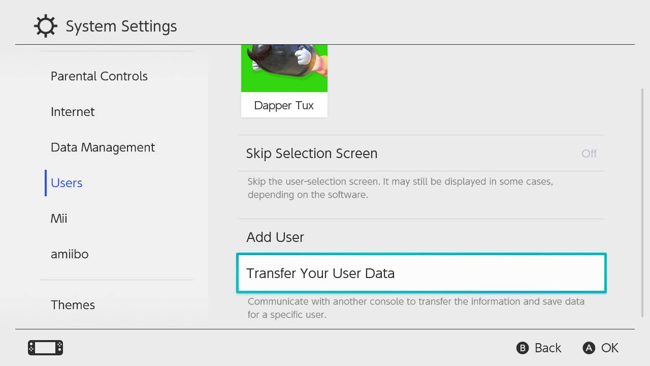 Nintendo Switch Transfer Your User Data
