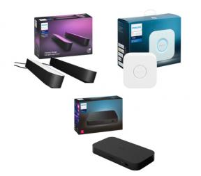 hilips Hue Play HDMI Sync Box, Bridge 2.0 & Play Smart LED Light Bar Kit