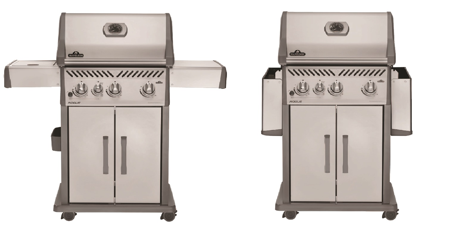 two images of the same grill, one with side shelves open and another with side shelves folded down