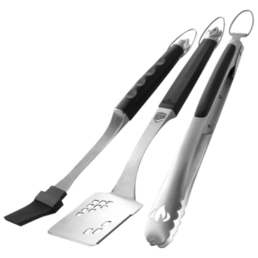 image of the Napoleon Executive Stainless Steel 3-Piece BBQ Set featuring a spatula, tongs, and basting brush