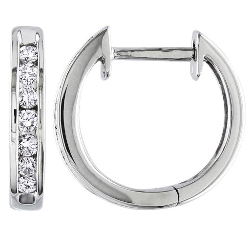 Hoop earrings in 10k white gold white diamonds