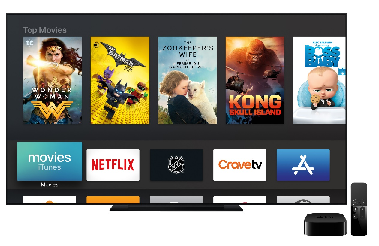 image of a TV screen displaying Apple TV programs with the Apple TV devices nearby