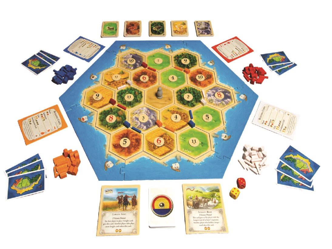 image of the board from the Settlers of Catan board game