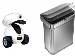 A picture containing the Dogness iPet Smart Robot pet treat dispenser on the left and the Simplehuman Sensor Can smart trash can on the right on a white background.