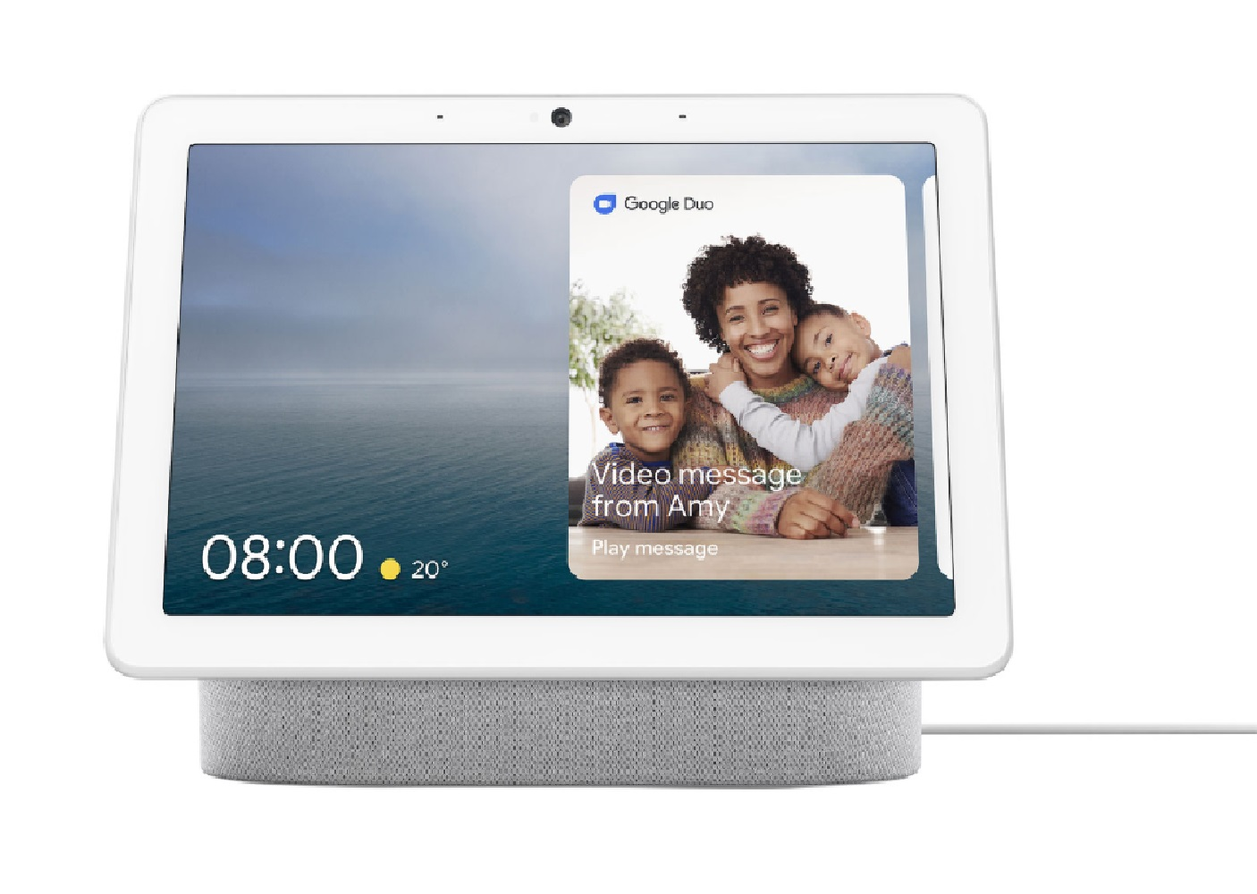 image of the Google Nest Hub Max displaying a video chat with a family