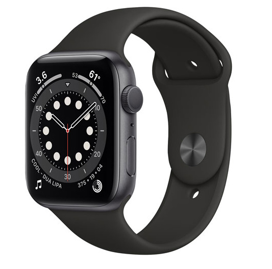 Apple Watch Series 6 (GPS) 44mm Space Grey Aluminum Case with Black Sport Band