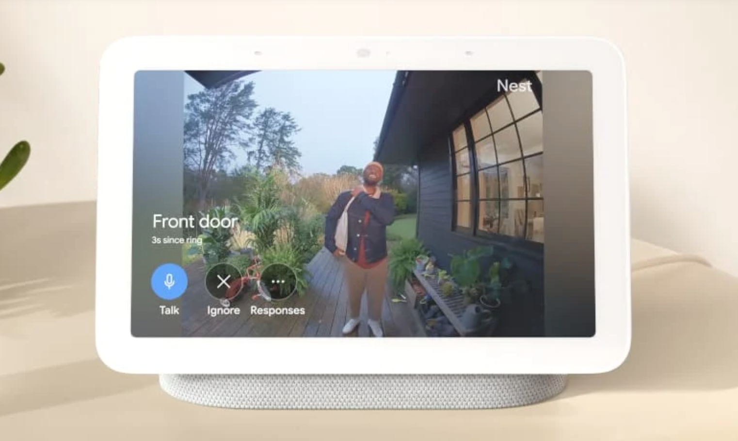 image of the Google Nest Hub 2nd Gen displaying a feed from a video doorbell