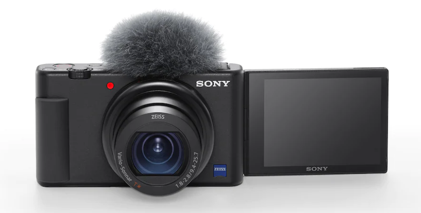 A photo of the Sony ZV-1 with wind screen installed