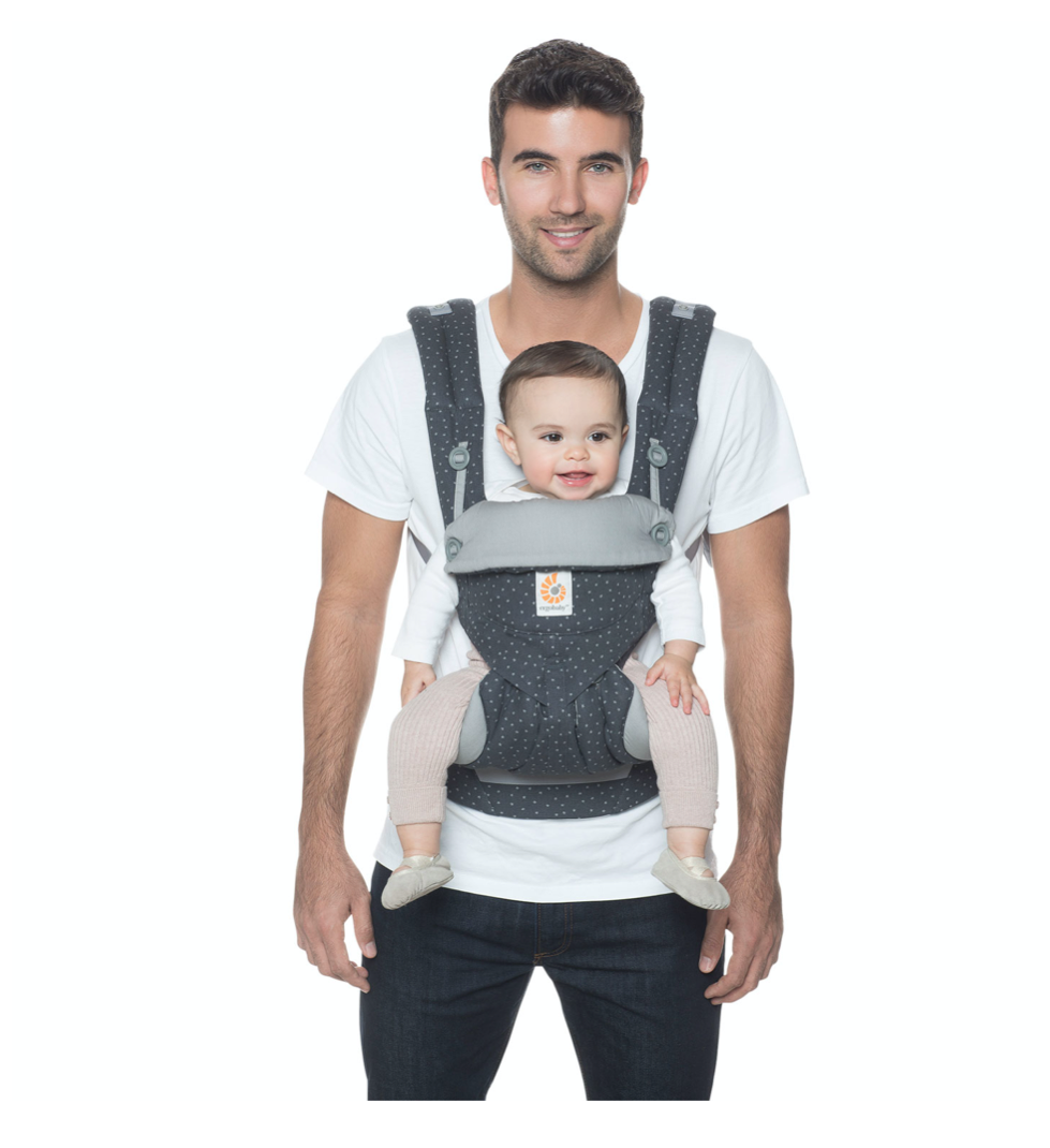 Man with baby in front in carrier