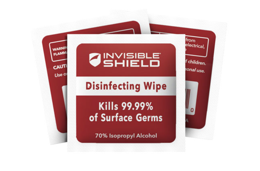 image of 3 packaged wipes from the InvisibleShield Antimicrobial Wipe 25-pack
