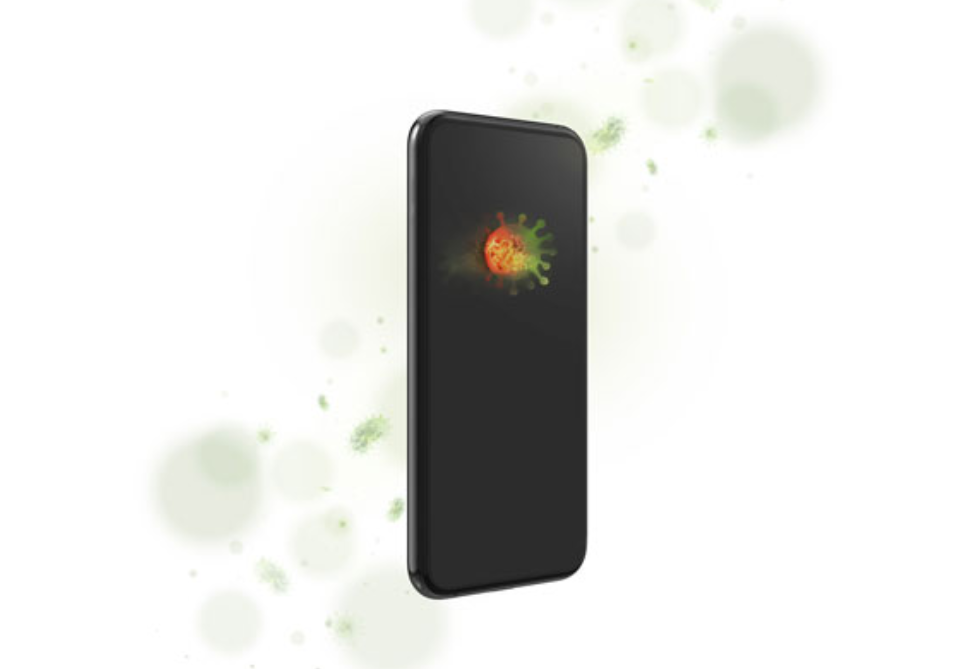 image of a smartphone with illustrations of germs on and around it