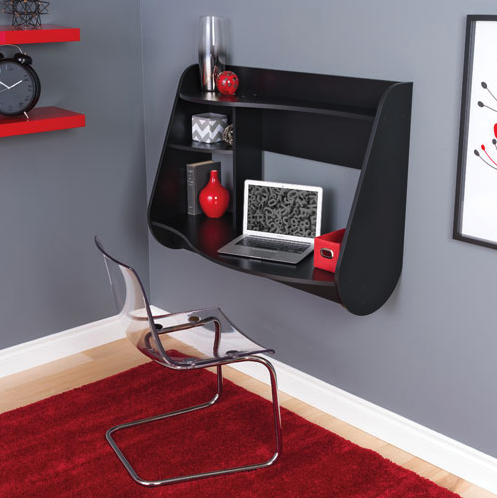 Kurv Modern Floating Desk - Black