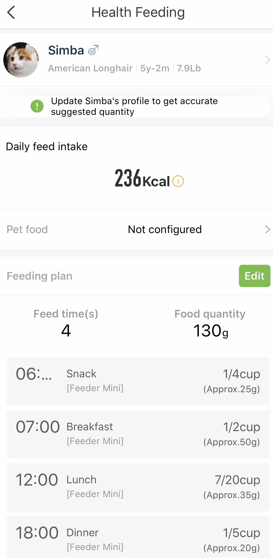 PETKIT feeding schedule
