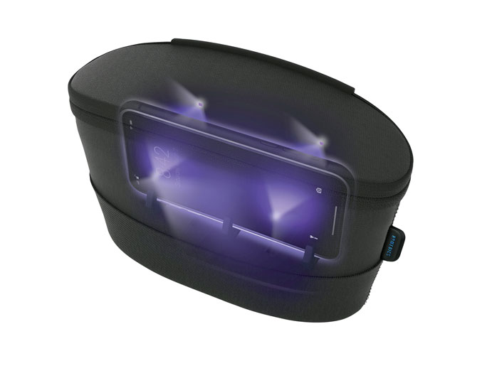 image of the HoMedics UV-Clean Sterilizer Bag, showing a phone inside being sterilized with UV light