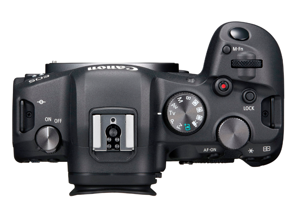 A photo of the top of the Canon EOS R6