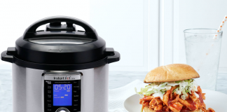 Instant Pot with pulled chicken sandwich