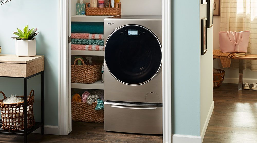 Image of a Whirlpool washing machine installed inside a closet