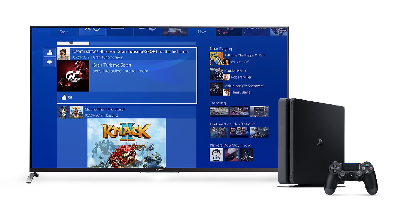 image of a TV displaying the PS4 interface next to a PS4 and controller
