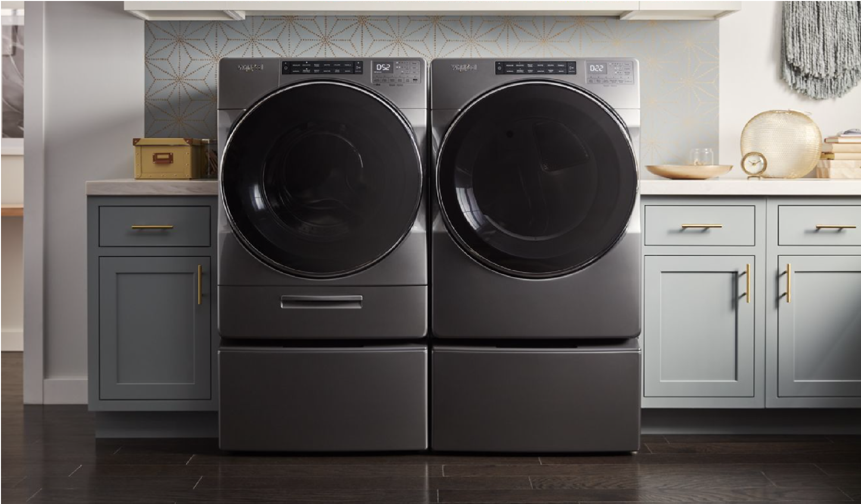 Image of side-by-side Whirlpool laundry pair with pedestal drawers