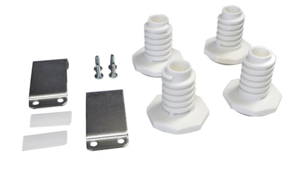 Image of the hardware included in a typical stacking kit: bolts, screws, and fasteners