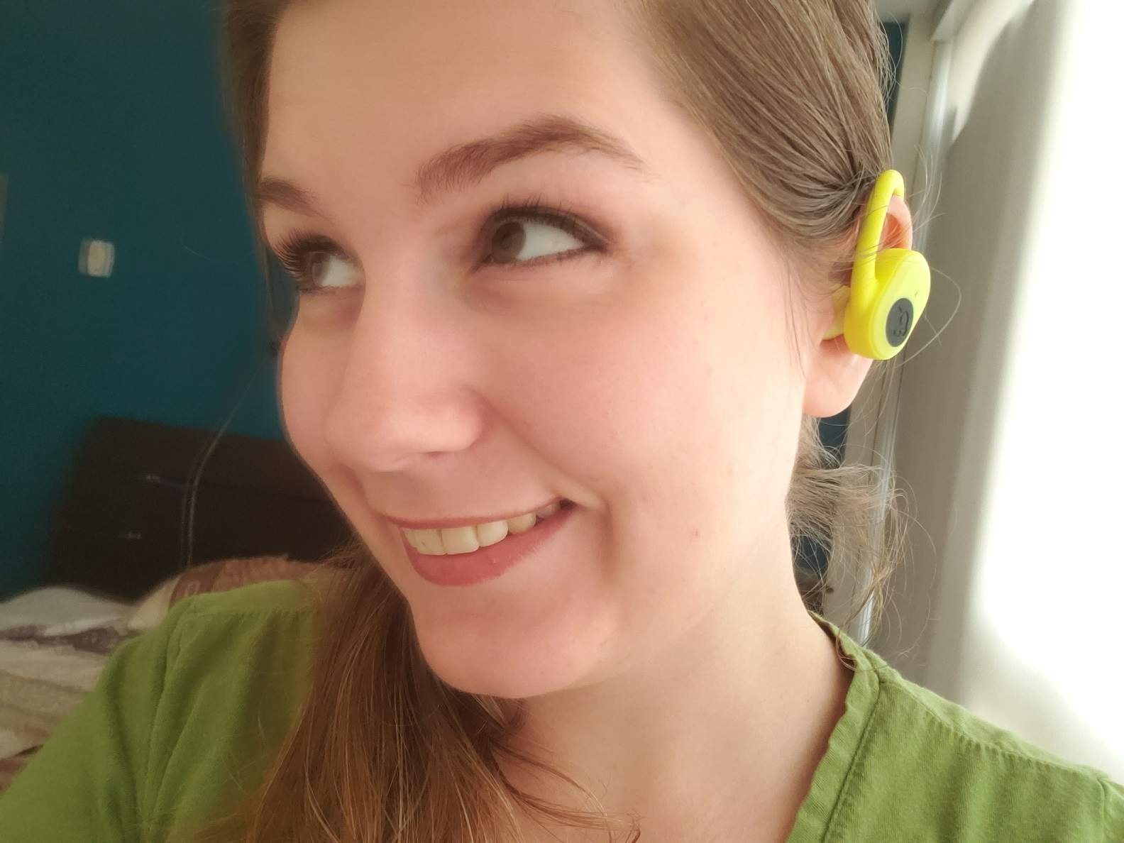 image of reviewer enjoying music with the Skullcandy Push Ultra