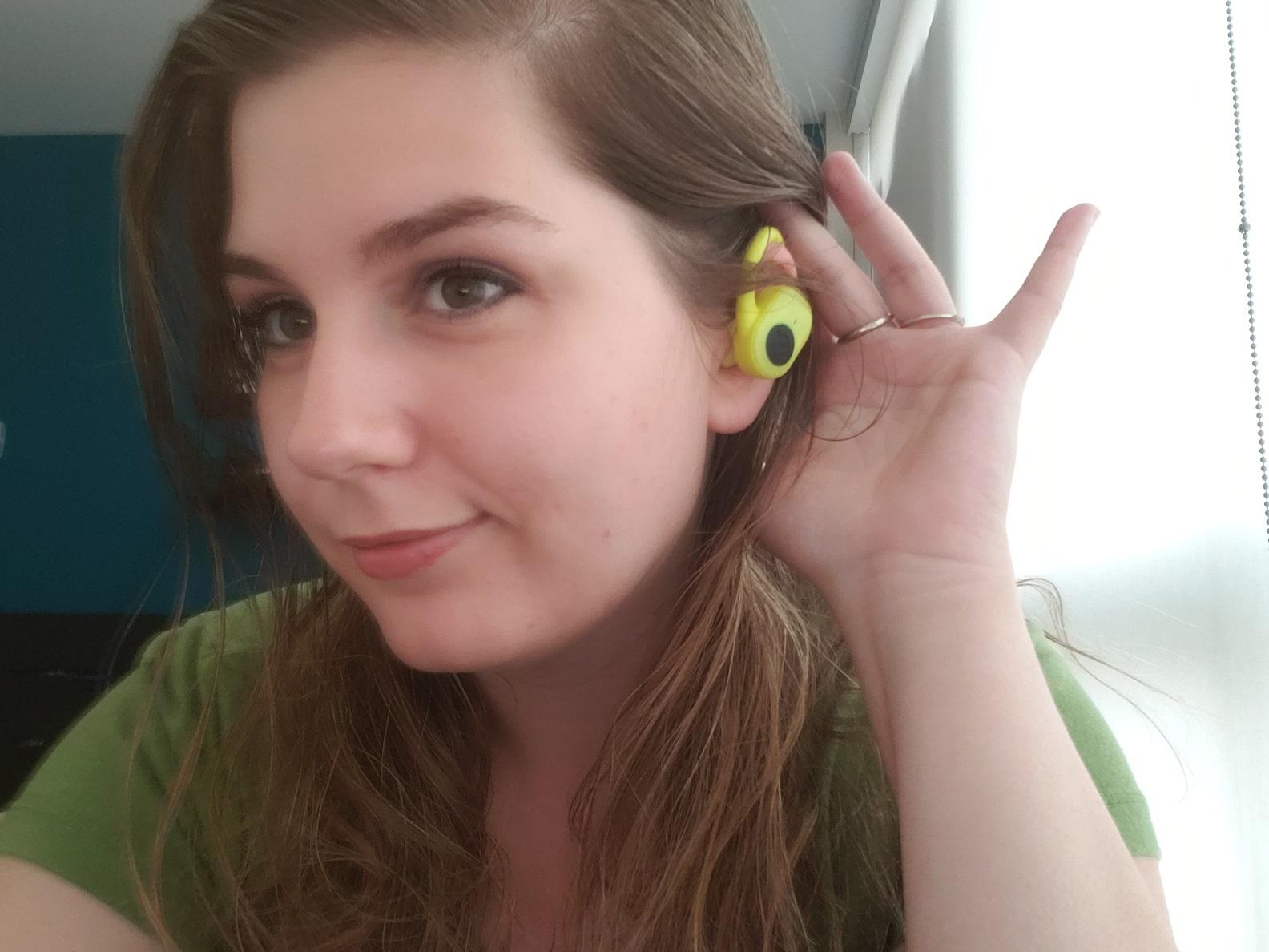 image of reviewer wearing Skullcandy Push Ultra in ear