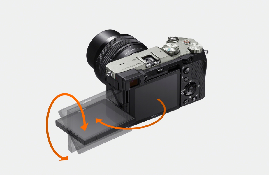 A photo diagram of the rotating screen of the Sony A7III