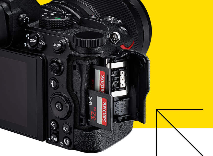 A photo of the dual card slots on the Nikon Z 5