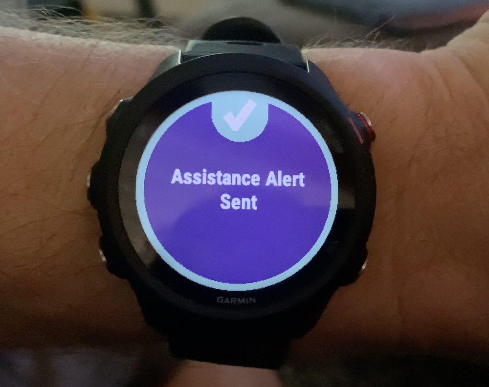 Assistance alert Garmin