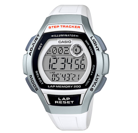 Casio LWS-2000 38.2mm Women's Digital Chronograph Sport Watch with Step Tracker - White:Black