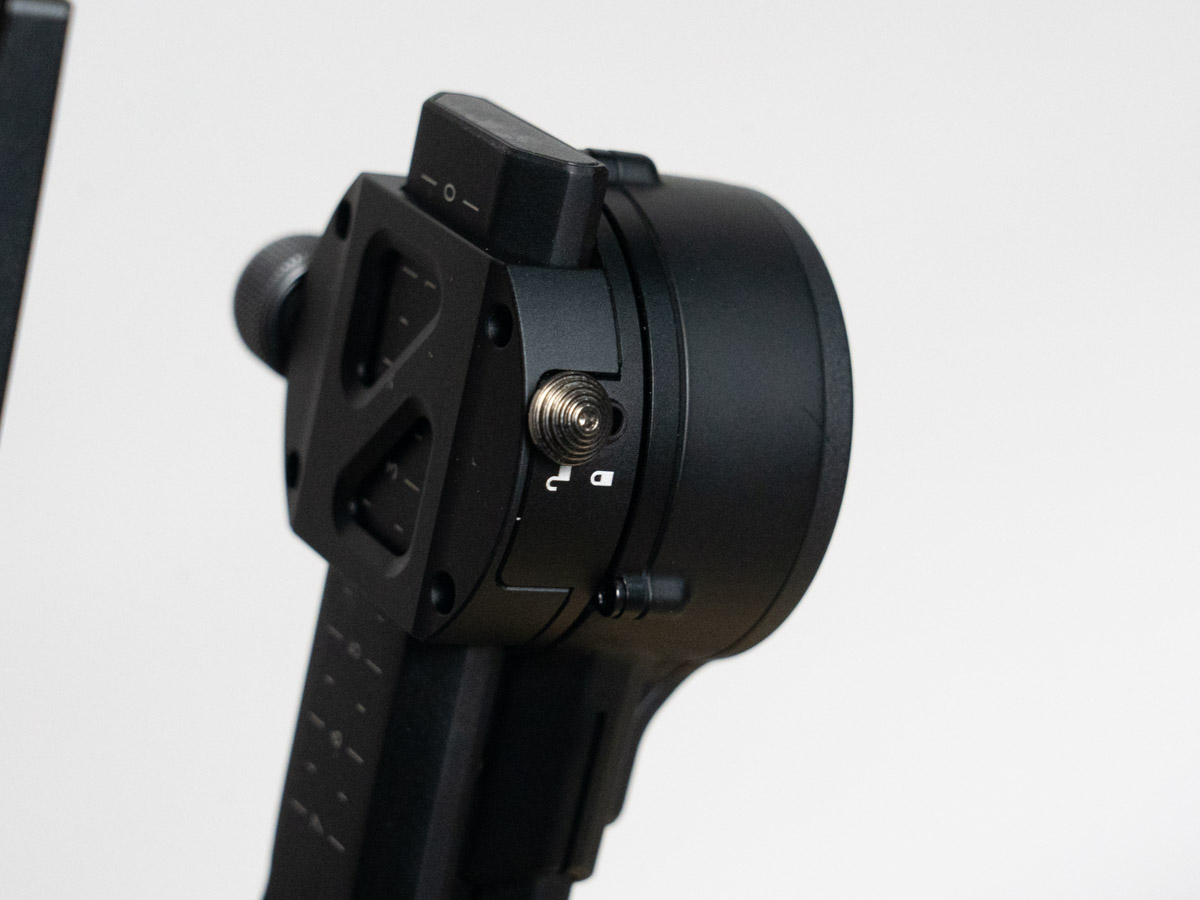 A photo of one of the axis locks on the DJI RSC2