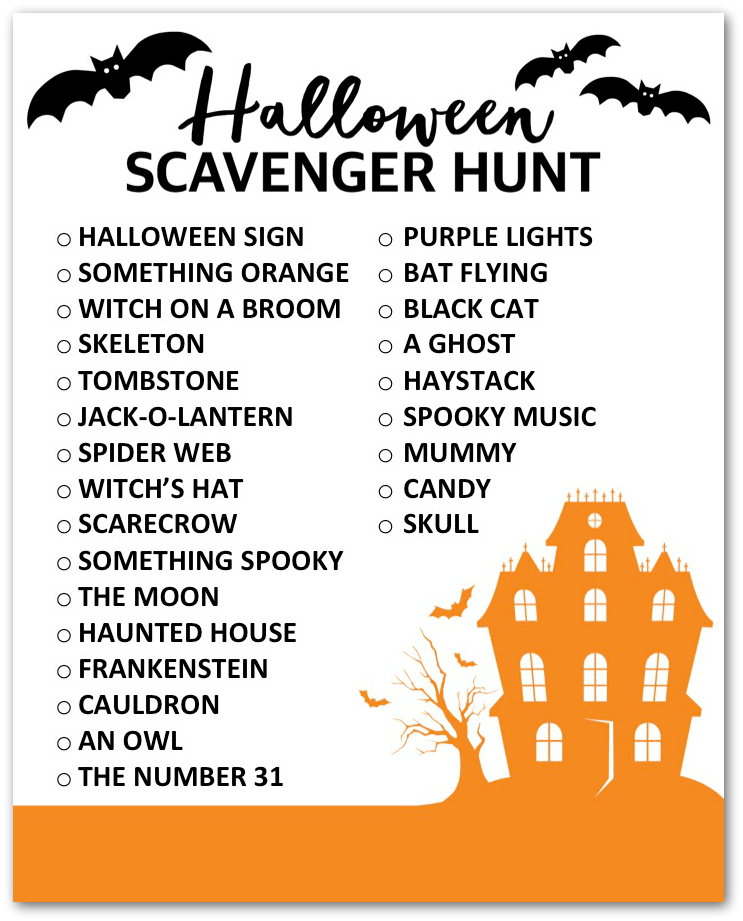 host a halloween scavenger hunt
