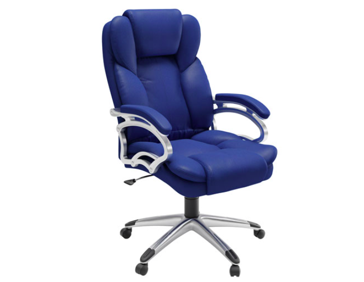 The CorLiving Workspace High-Back Faux Leather Executive Chair in Cobalt Blue