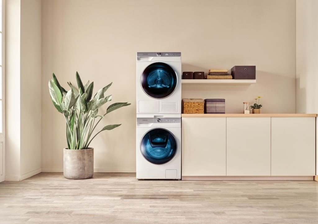 Samsung Stacked washer and dryer with multi control panel