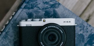 A photo of the Fujifilm X-E4 mirrorless camera